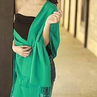 Wool and silk shawl, 'Extravagant Aqua' - Artisan Crafted Wool Silk Shawl