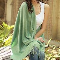 Wool and silk shawl, 'Extravagant Mint' - Fair Trade Women's Wool Silk Shawl