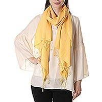 Wool and silk blend shawl, 'Yellow Fanfare' - Woven Wool and Silk Blend Shawl in Maize from India