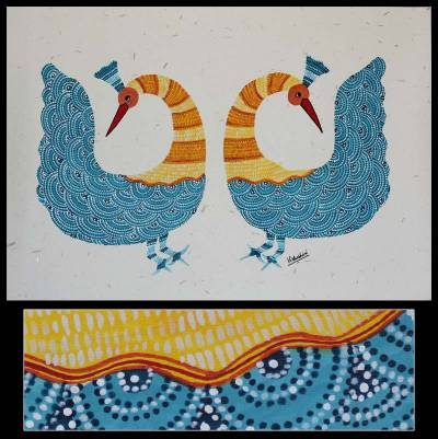 Gond painting, 'Graceful Peacocks' - Signed Indian Gond Painting on Paper of Two Peacocks