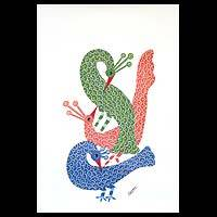 Gond painting, 'Flirting Peacocks' - Gond painting
