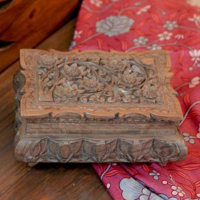 Walnut wood jewelry box, 'Wildflowers' - Floral Wood Jewelry Box