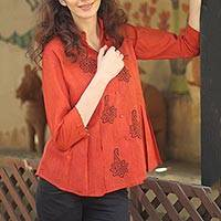 Cotton tunic, 'Jaipur Summer' - Handcrafted Block Print Cotton Tunic Top from India