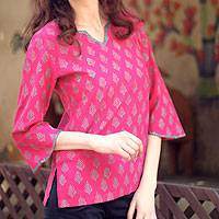 Cotton tunic, 'Jaipur Belle' - Indian Floral Cotton Block Printed Tunic Top