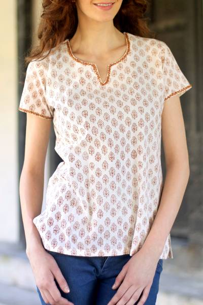 Cotton tunic, 'Gujurat Glow' - Handcrafted Floral Cotton Embroidered Tunic Top