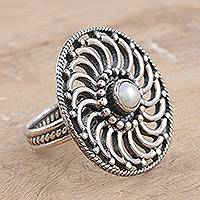 Pearl cocktail ring, 'Whirlwind' - Pearl cocktail ring