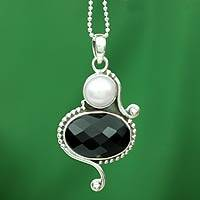 Cultured pearl and onyx pendant necklace, 'Magical Moons'