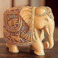 Wood sculpture, 'Elephant Goes Hunting' - Elephant Wood Sculpture