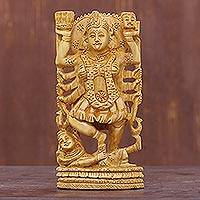 Wood sculpture, 'Kali, Goddess of Destruction' - Indian Hindu Wood Sculpture