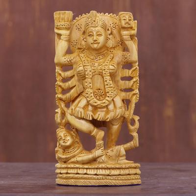 Wood sculpture, 'Kali Goddess of Destruction'