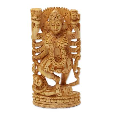 Wood sculpture, 'Kali, Goddess of Destruction' - Wood sculpture
