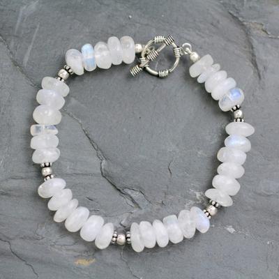 Rainbow moonstone beaded bracelet, 'Indian Rainbow' - Rainbow Moonstone Beaded Bracelet