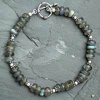 Labradorite beaded bracelet, 'Indian Rainbow'