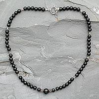 Onyx strand necklace, 'Kerala Night' - Onyx strand necklace