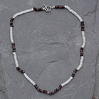 Rainbow moonstone and garnet beaded necklace, 'Orissa Harmony' - Rainbow Moonstone and garnet beaded necklace