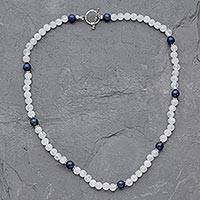 Rainbow moonstone and lapis lazuli beaded necklace, 'Jaipur Skies' - Rainbow Moonstone and Lapis Lazuli Beaded Necklace