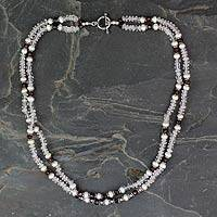 Rose quartz and garnet strand necklace, 'All About Love' - Rose quartz and garnet strand necklace