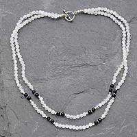Rainbow moonstone and onyx strand necklace, 'Chennai Nights' - Rainbow Moonstone and Onyx strand necklace