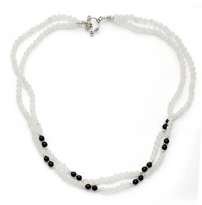 Rainbow Moonstone and Onyx strand necklace