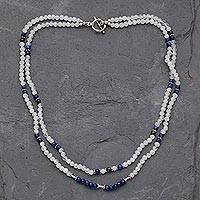 Rainbow moonstone and lapis lazuli strand necklace, 'Gujurat Skies'
