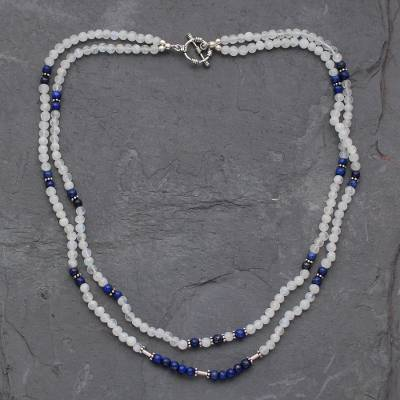 Rainbow moonstone and lapis lazuli strand necklace, 'Gujurat Skies' - Rainbow Moonstone and Lapis Lazuli Strand Necklace