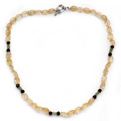 Citrine and garnet beaded necklace