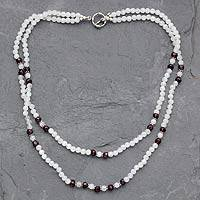 Rainbow moonstone and garnet beaded necklace, 'Rajasthan Dancer' - Rainbow Moonstone and garnet beaded necklace