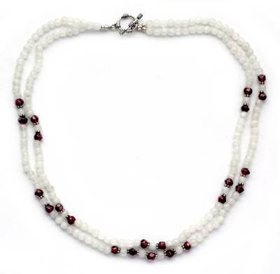 Rainbow Moonstone and garnet beaded necklace