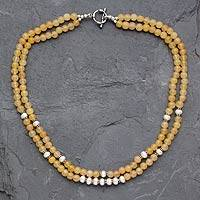 Aventurine and cultured pearl strand necklace, 'Indian Eclipse' - Aventurine and cultured pearl strand necklace