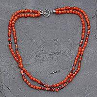 Carnelian strand necklace, 'Mumbai Sun' - Carnelian strand necklace