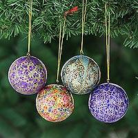 Papier mache ornaments, 'Mughal Celebration' (set of 4) - Handcrafted Christmas Papier Mache Ornaments (Set of 4)