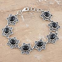 Onyx flower bracelet, 'Dark Halo' - Onyx flower bracelet