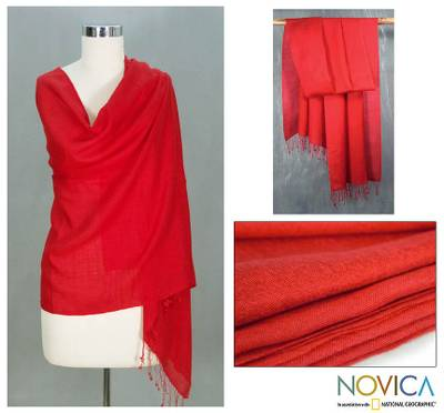 Wool and silk shawl, 'Kashmiri Scarlet' - Wool and silk shawl
