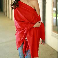 Wool and silk shawl, 'Attraction' - Wool Shawl Orange Red Wrap from India