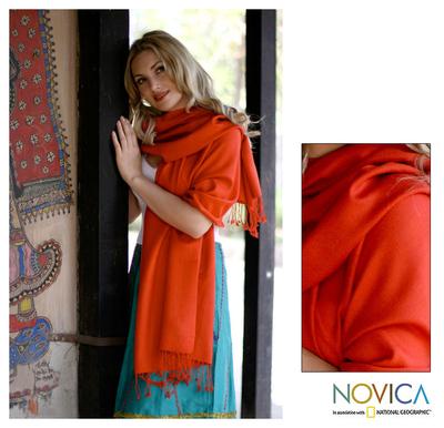 Wool and silk shawl, 'Burning Desire' - Women's Shawl Wool Silk Blend Wrap