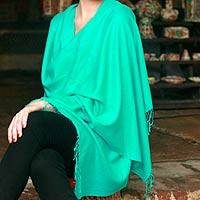 Wool and silk shawl, 'Fresh Adornment' - Artisan Crafted Wool  Silk Blend Shawl