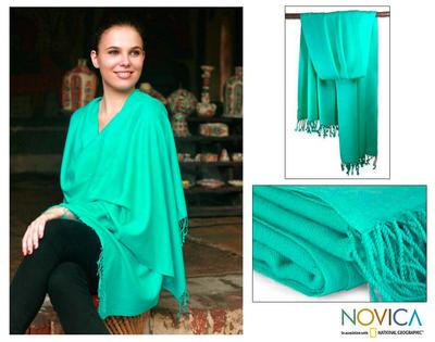 Wool and silk shawl, 'Fresh Adornment' - Artisan Crafted Wool  Silk Blend Shawl