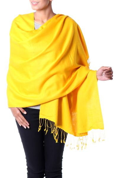 Wool and silk blend shawl, 'Sunlight' - Artisan Crafted Wool Silk Blend Yellow Shawl