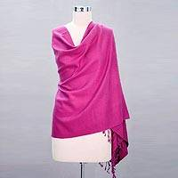 Wool and silk shawl, 'Hot Orchid' - Fair Trade Shawl from India