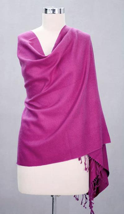 Wool and silk blend shawl, 'Hot Orchid' - Fair Trade Shawl Wool Silk Blend Wrap