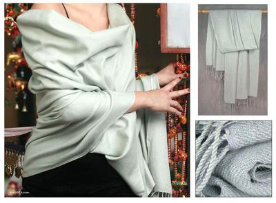 Wool and silk shawl, 'Luxury' - Indian Shawl Grey Wool Silk Blend Wrap
