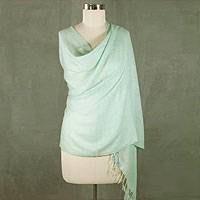 Wool and silk blend shawl, 'Aqua Mist' - Indian Wool Silk Blend Handwoven Shawl
