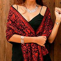 Wool shawl, 'Fabled City' - Paisley Wool Embroidered Shawl