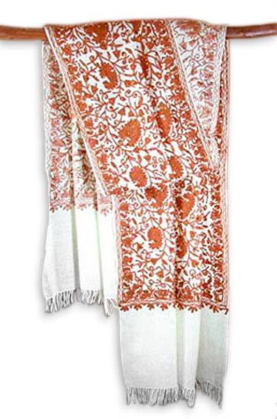 Wool shawl, 'Fabled City' - Artisan Crafted Floral Wool Embroidered Shawl