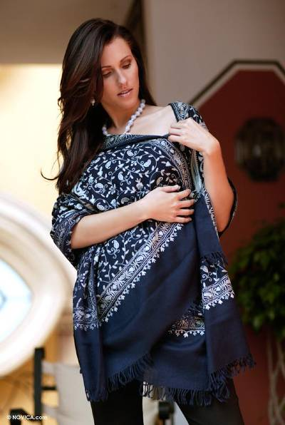 Wool shawl, 'Following Sea' - Paisley Wool Embroidered Shawl from India