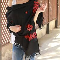 Wool shawl, 'Scarlet Seduction' - Handcrafted Wool Embroidered Shawl from India