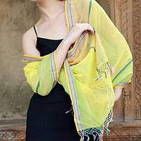 Cotton and silk shawl, 'Maheshwari Sun' - Hand Made Women's Wrap Cotton Silk Blend Shawl
