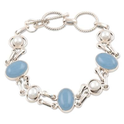 Chalcedony and Pearl Handmade Sterling Silver Link Bracelet