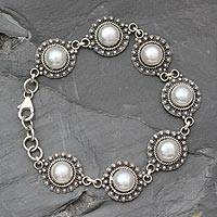 Pearl link bracelet, 'Purity' - Unique Pearl Link Bracelet Handcrafted in India