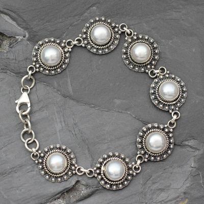 Pearl link bracelet, 'Purity' - Pearl link bracelet